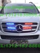 奔驰GL越野车安装美国VS V72警报器及GL332A中网LED爆闪灯+VL316TS吸盘警灯