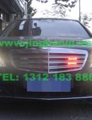 奔驰S600安装美国VS V7-1警报器GL316A中网灯LED 1带4爆闪灯警灯