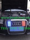 奥迪A6L安装美国VS SIGNAL GL332A 1带8中网灯爆闪灯警灯及VS SIGNAL V7-1警报器