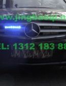 奔驰C260安装美国VS Signal GL332A中网LED爆闪灯警灯及美国VS SIGNAL S201螺旋管爆闪灯